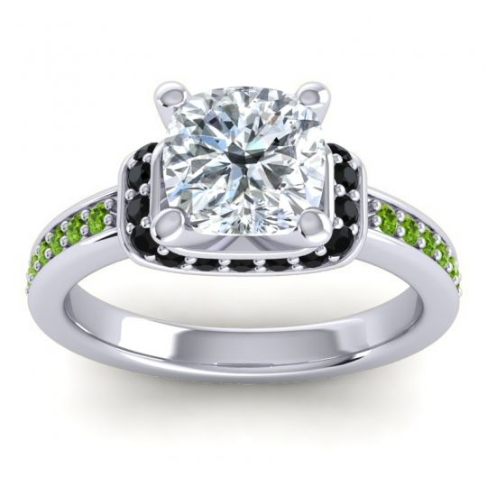 Halo Cushion Aksika Diamond Ring with Black Onyx and Peridot in 14k White Gold