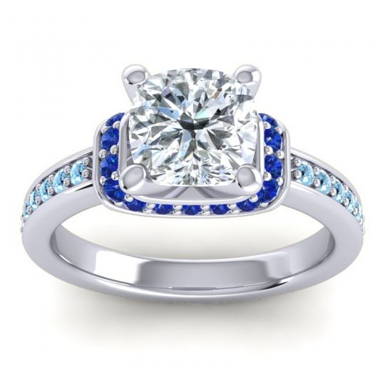 Halo Cushion Aksika Diamond Ring with Blue Sapphire and Aquamarine in 18k White Gold