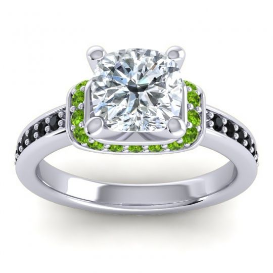 Halo Cushion Aksika Diamond Ring with Peridot and Black Onyx in 14k White Gold