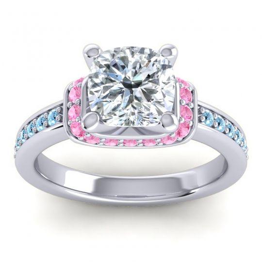 Halo Cushion Aksika Diamond Ring with Pink Tourmaline and Aquamarine in Palladium