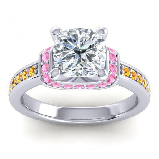 Halo Cushion Aksika Diamond Ring with Pink Tourmaline and Citrine in Platinum