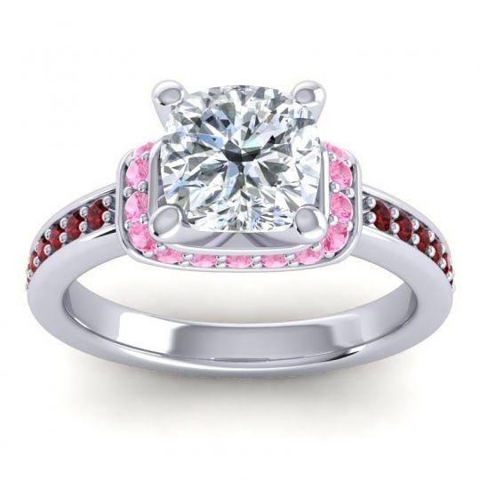 Halo Cushion Aksika Diamond Ring with Pink Tourmaline and Garnet in Platinum