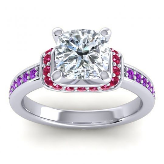 Halo Cushion Aksika Diamond Ring with Ruby and Amethyst in Platinum