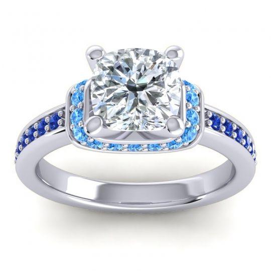 Halo Cushion Aksika Diamond Ring with Swiss Blue Topaz and Blue Sapphire in Palladium
