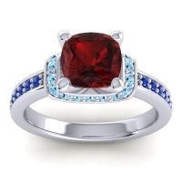 Halo Cushion Aksika Garnet Ring with Aquamarine and Blue Sapphire in 14k White Gold