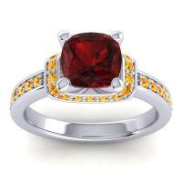 Halo Cushion Aksika Garnet Ring with Citrine in 14k White Gold