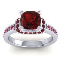 Halo Cushion Aksika Garnet Ring with Ruby in Palladium