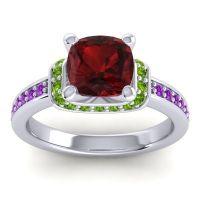 Halo Cushion Aksika Garnet Ring with Peridot and Amethyst in Platinum