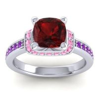 Halo Cushion Aksika Garnet Ring with Pink Tourmaline and Amethyst in 18k White Gold