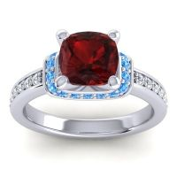 Halo Cushion Aksika Garnet Ring with Swiss Blue Topaz and Diamond in Platinum