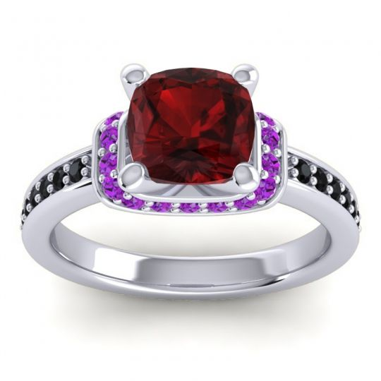 Halo Cushion Aksika Garnet Ring with Amethyst and Black Onyx in 14k White Gold