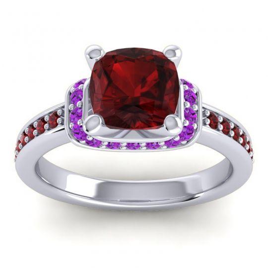Halo Cushion Aksika Garnet Ring with Amethyst in Platinum