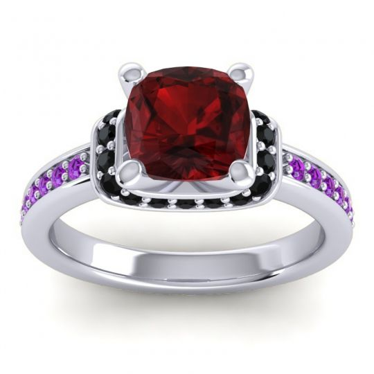 Halo Cushion Aksika Garnet Ring with Black Onyx and Amethyst in 14k White Gold
