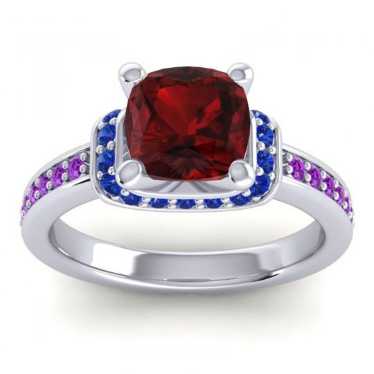 Halo Cushion Aksika Garnet Ring with Blue Sapphire and Amethyst in 18k White Gold