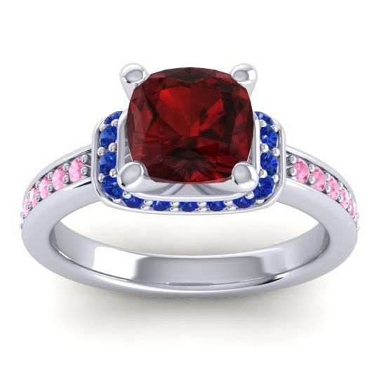 Halo Cushion Aksika Garnet Ring with Blue Sapphire and Pink Tourmaline in 14k White Gold