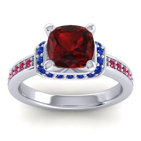 Halo Cushion Aksika Garnet Ring with Blue Sapphire and Ruby in 18k White Gold