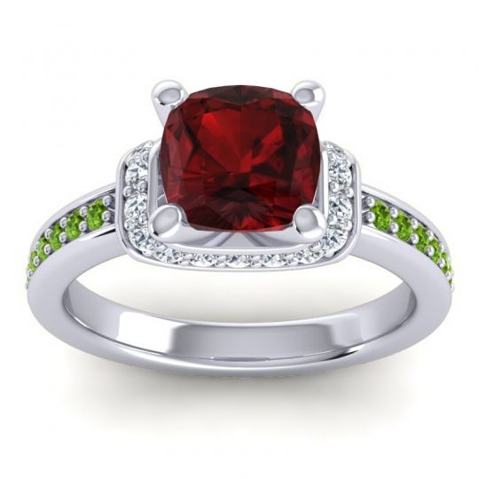 Halo Cushion Aksika Garnet Ring with Diamond and Peridot in Palladium