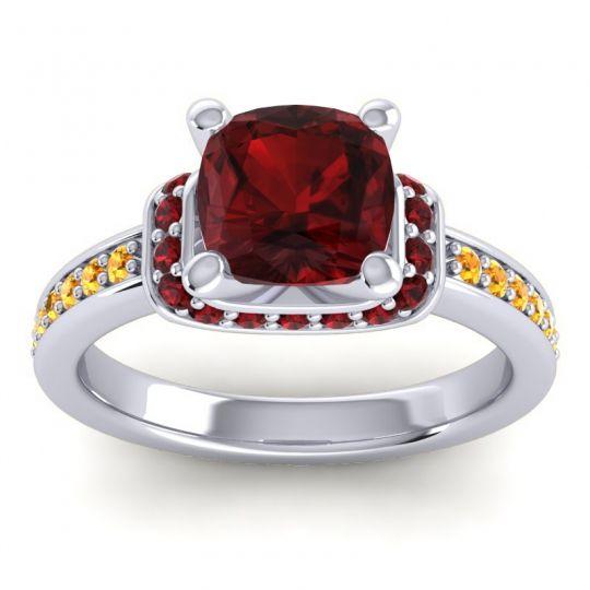 Halo Cushion Aksika Garnet Ring with Citrine in Palladium