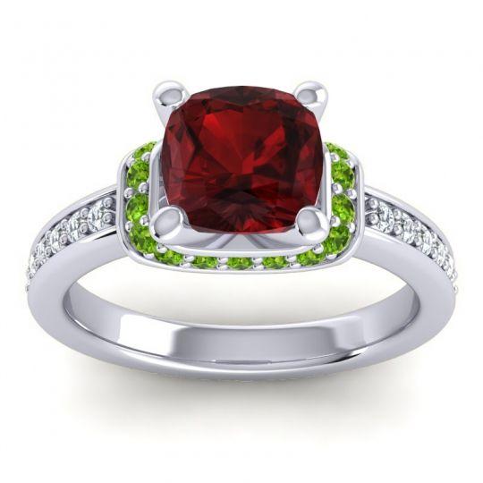 Halo Cushion Aksika Garnet Ring with Peridot and Diamond in Palladium