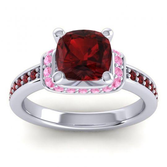 Halo Cushion Aksika Garnet Ring with Pink Tourmaline in Platinum