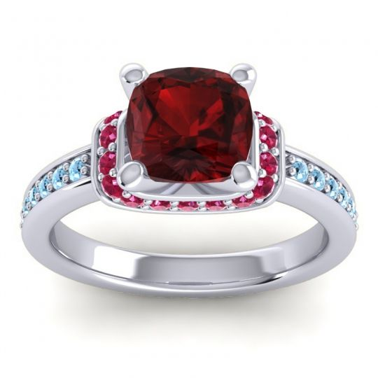 Halo Cushion Aksika Garnet Ring with Ruby and Aquamarine in 18k White Gold
