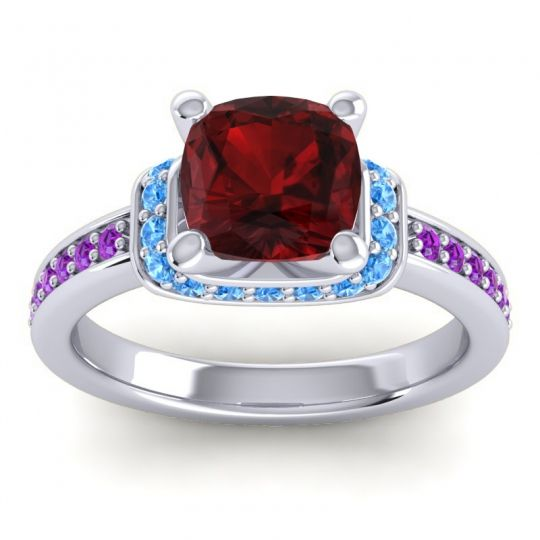 Halo Cushion Aksika Garnet Ring with Swiss Blue Topaz and Amethyst in 18k White Gold