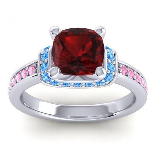 Halo Cushion Aksika Garnet Ring with Swiss Blue Topaz and Pink Tourmaline in Platinum