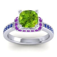 Halo Cushion Aksika Peridot Ring with Amethyst and Blue Sapphire in Platinum