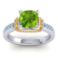 Halo Cushion Aksika Peridot Ring with Citrine and Aquamarine in 18k White Gold