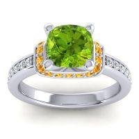 Halo Cushion Aksika Peridot Ring with Citrine and Diamond in Palladium
