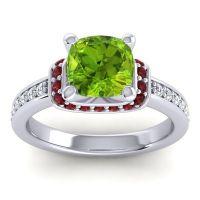 Halo Cushion Aksika Peridot Ring with Garnet and Diamond in 14k White Gold