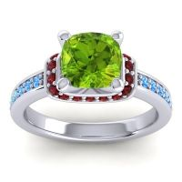 Halo Cushion Aksika Peridot Ring with Garnet and Swiss Blue Topaz in 18k White Gold