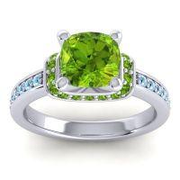 Halo Cushion Aksika Peridot Ring with Aquamarine in Palladium