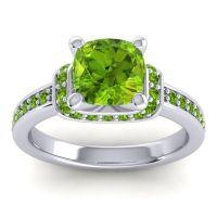 Halo Cushion Aksika Peridot Ring in 14k White Gold