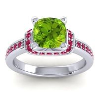 Halo Cushion Aksika Peridot Ring with Ruby in 18k White Gold