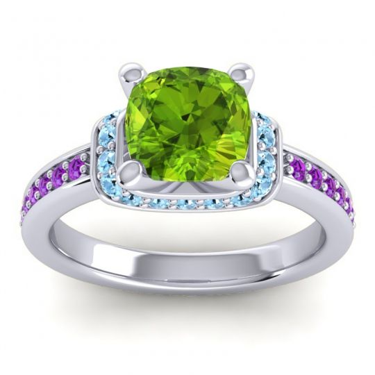 Halo Cushion Aksika Peridot Ring with Aquamarine and Amethyst in 18k White Gold