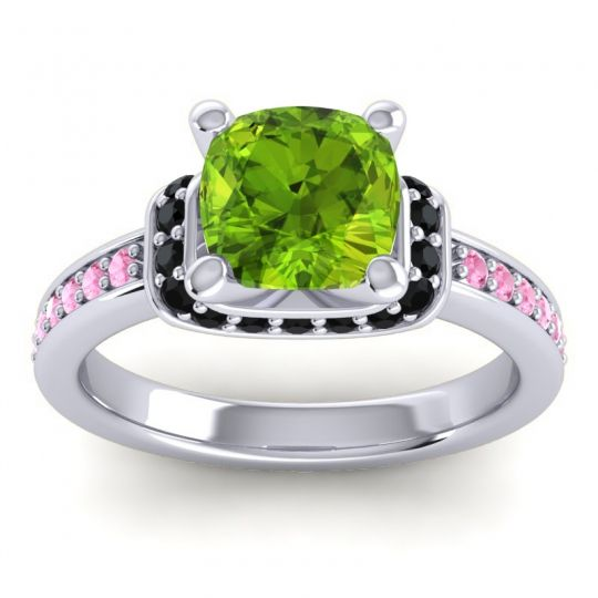 Halo Cushion Aksika Peridot Ring with Black Onyx and Pink Tourmaline in 14k White Gold