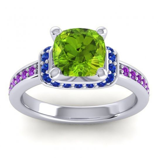 Halo Cushion Aksika Peridot Ring with Blue Sapphire and Amethyst in Palladium