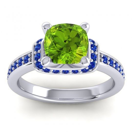 Halo Cushion Aksika Peridot Ring with Blue Sapphire in Platinum