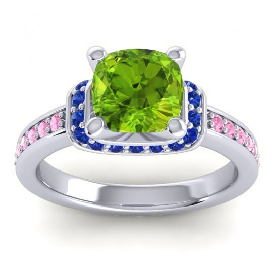 Halo Cushion Aksika Peridot Ring with Blue Sapphire and Pink Tourmaline in Platinum