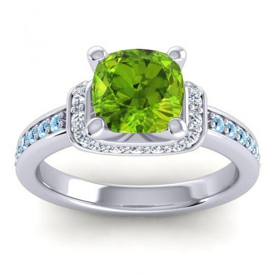Halo Cushion Aksika Peridot Ring with Diamond and Aquamarine in 14k White Gold