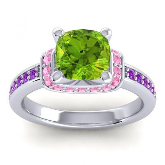Halo Cushion Aksika Peridot Ring with Pink Tourmaline and Amethyst in Palladium