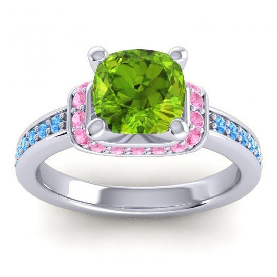Halo Cushion Aksika Peridot Ring with Pink Tourmaline and Swiss Blue Topaz in Palladium