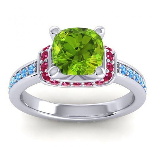 Halo Cushion Aksika Peridot Ring with Ruby and Swiss Blue Topaz in 18k White Gold