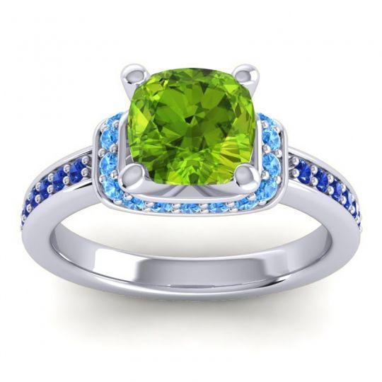 Halo Cushion Aksika Peridot Ring with Swiss Blue Topaz and Blue Sapphire in Palladium
