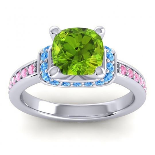 Halo Cushion Aksika Peridot Ring with Swiss Blue Topaz and Pink Tourmaline in 14k White Gold