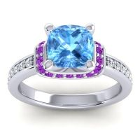 Halo Cushion Aksika Swiss Blue Topaz Ring with Amethyst and Diamond in Platinum