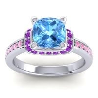 Halo Cushion Aksika Swiss Blue Topaz Ring with Amethyst and Pink Tourmaline in 14k White Gold