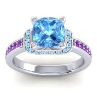 Halo Cushion Aksika Swiss Blue Topaz Ring with Aquamarine and Amethyst in Platinum