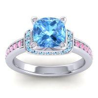 Halo Cushion Aksika Swiss Blue Topaz Ring with Aquamarine and Pink Tourmaline in Platinum